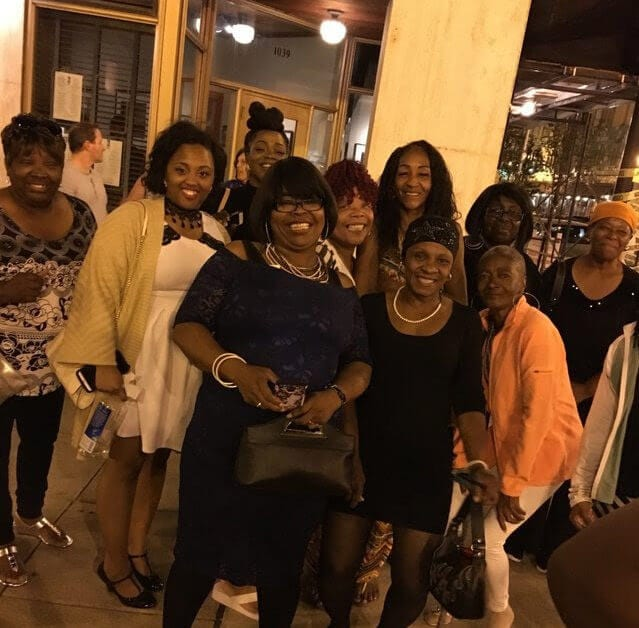 group of women dressed up and out for dinner