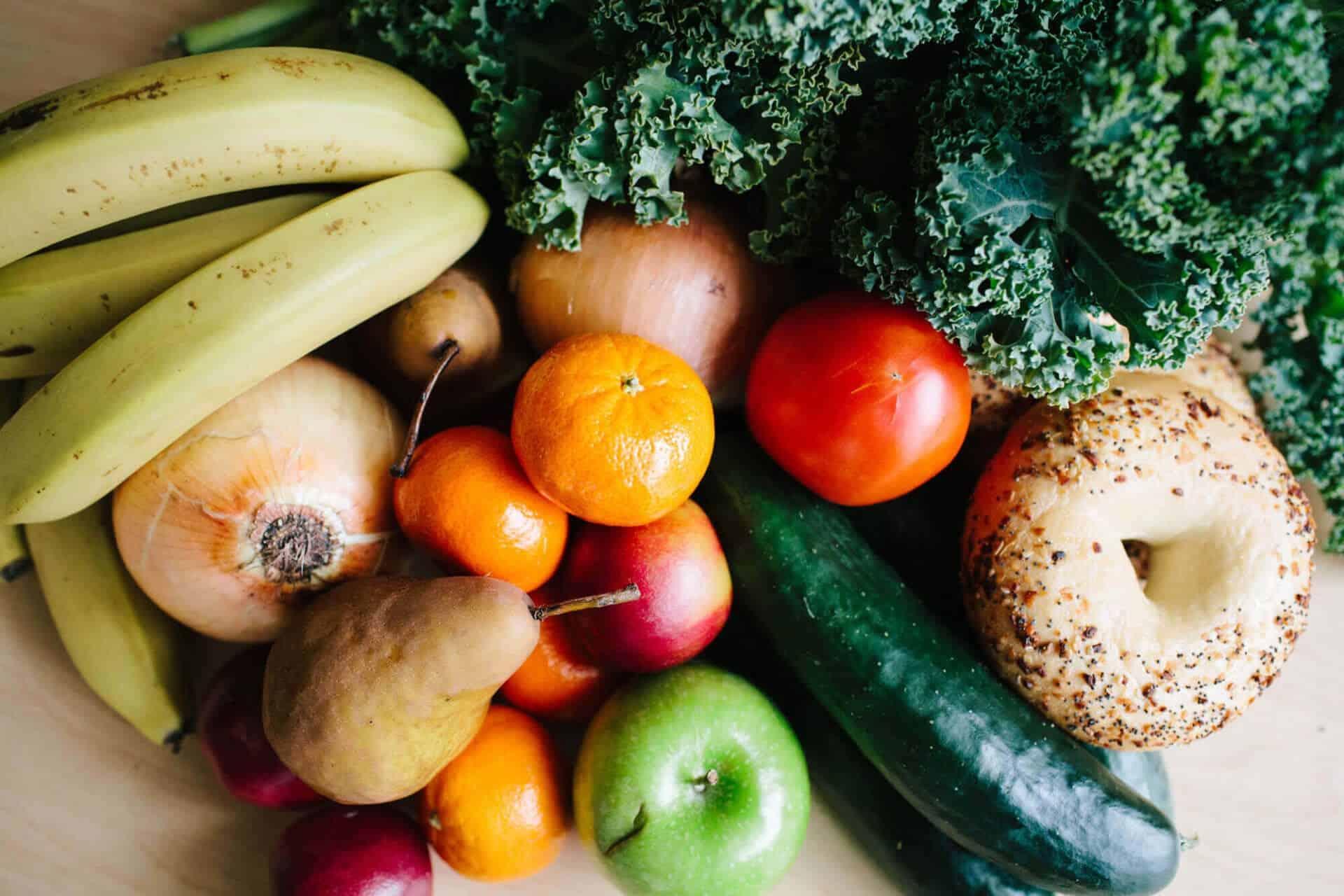 fresh fruit vegetables and bagels at Breakthrough Fresh Market