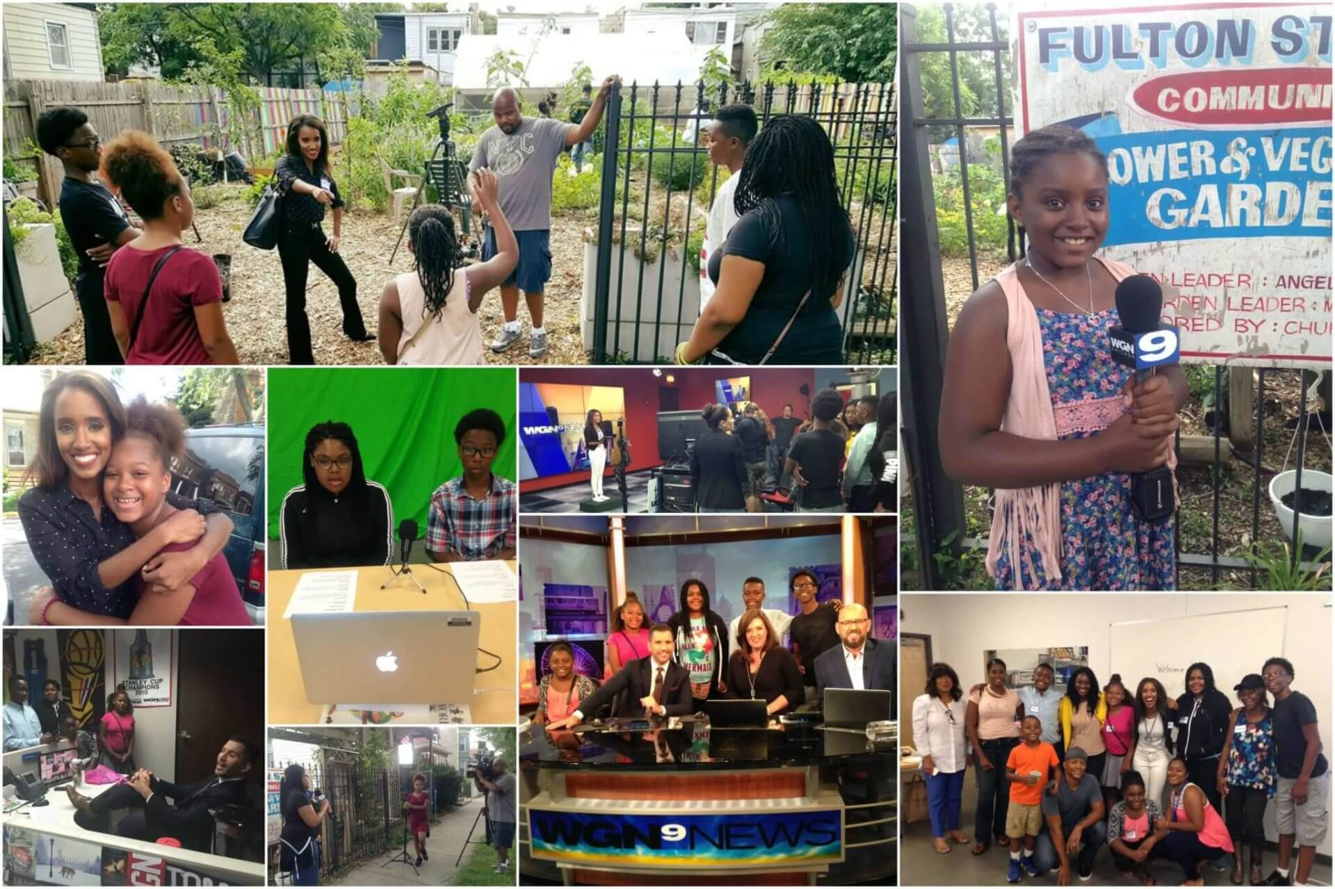 collage of photos of students participating in WGN broadcast and journalism camp