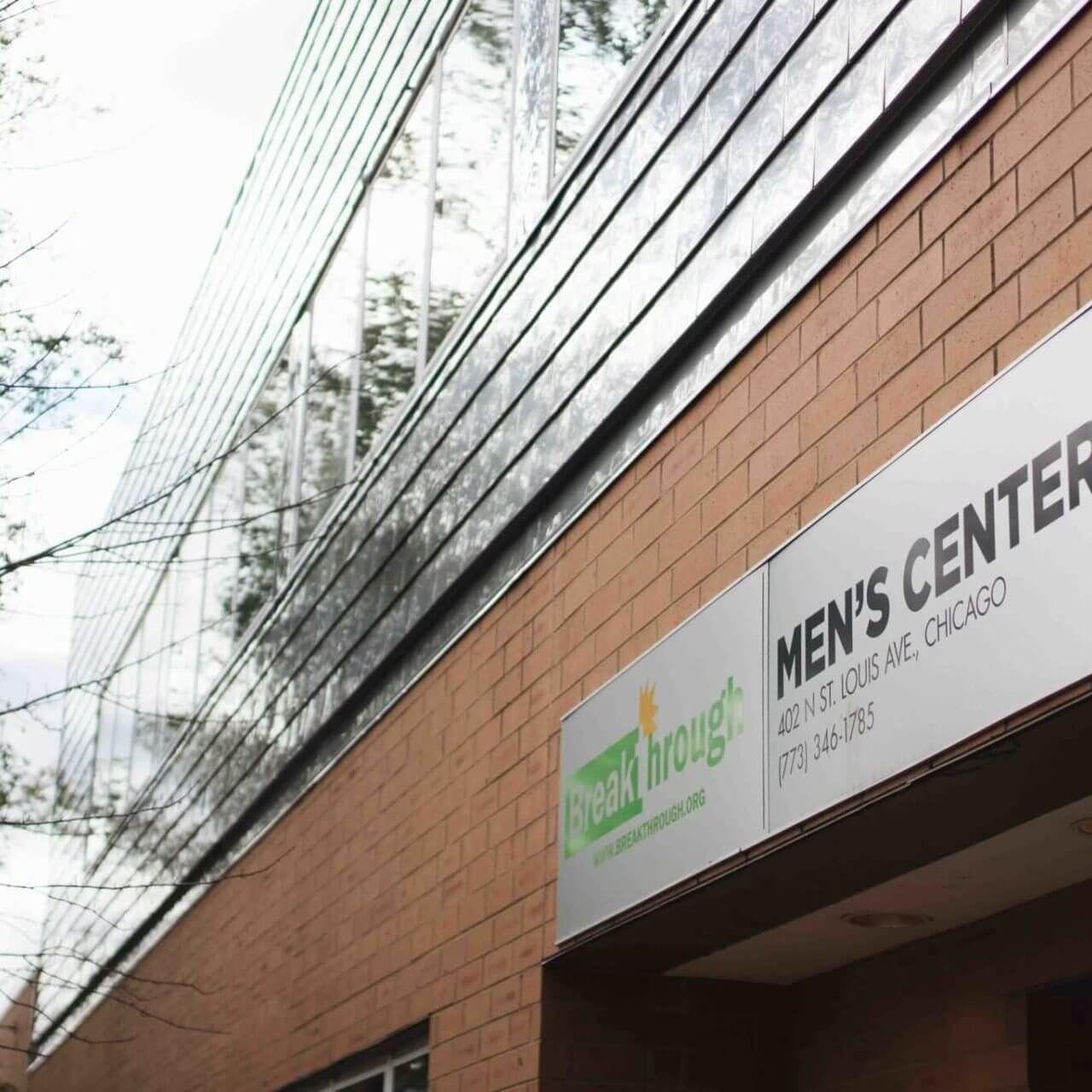 outside sign on the Breakthrough Men's Center