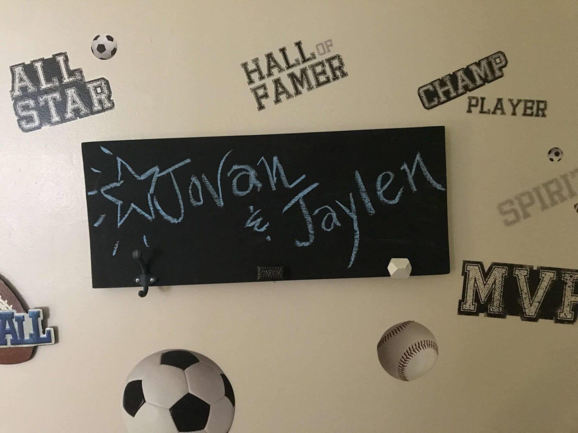 Chalk sign in boys bedroom