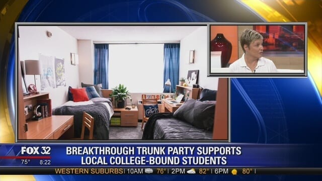 college student dorm room and Marcie Curry interview on Fox32 Chicago