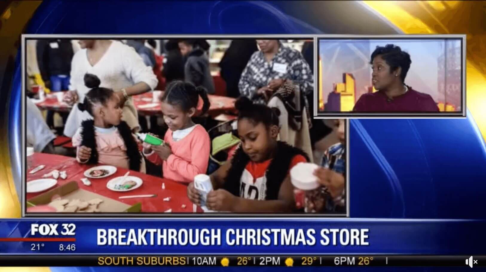 children making crafts and Wilonda Cannon on Fox 32 feature of Breakthrough Christmas Store