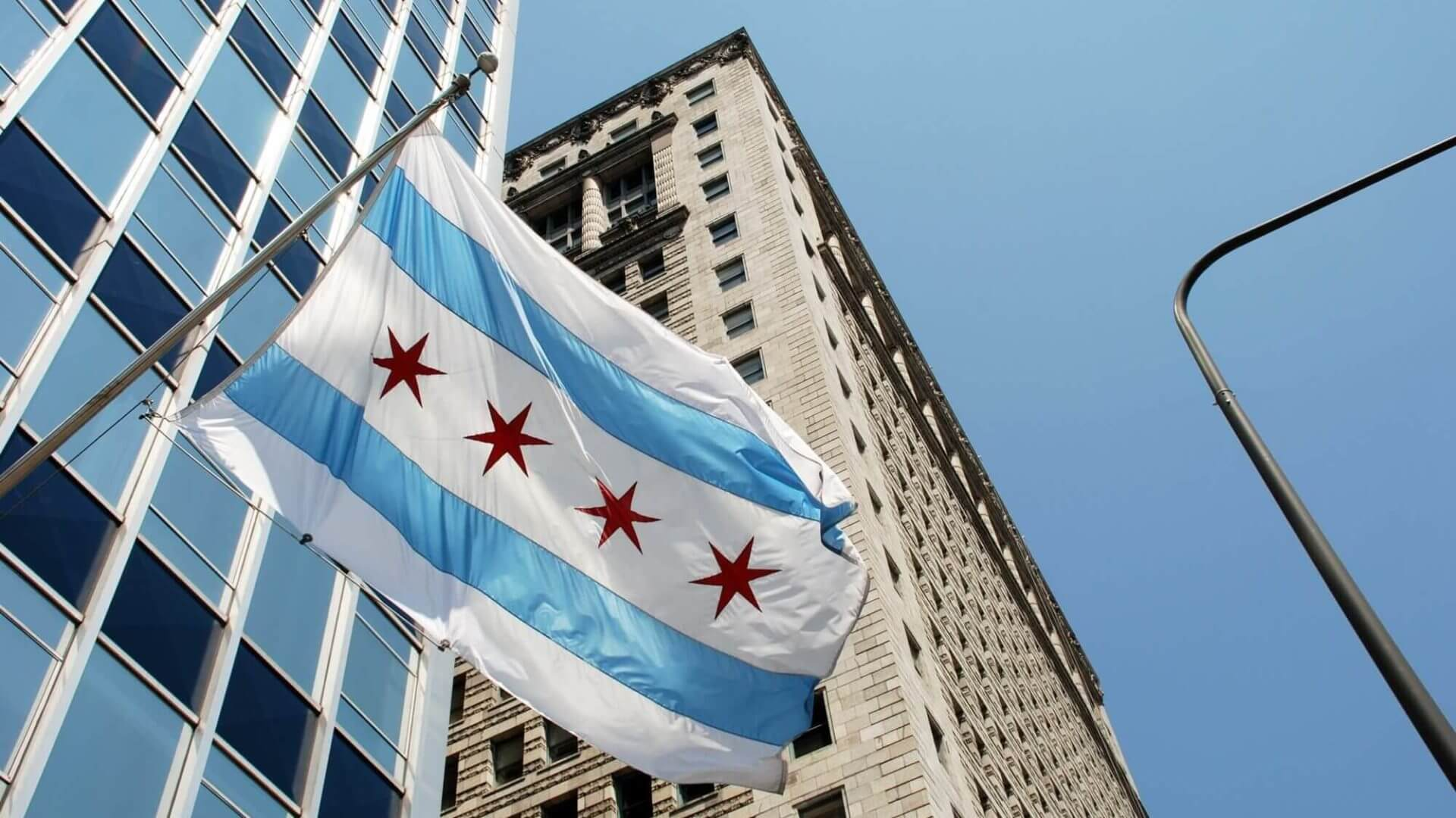 Chicago flag flying along Michigan avenue
