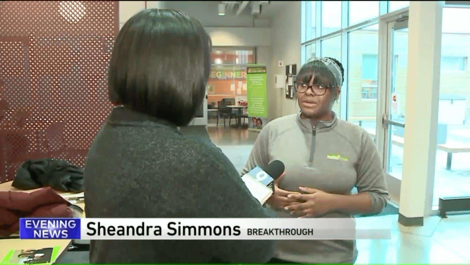 WGN interviewing staff member at Breakthrough FamilyPlex