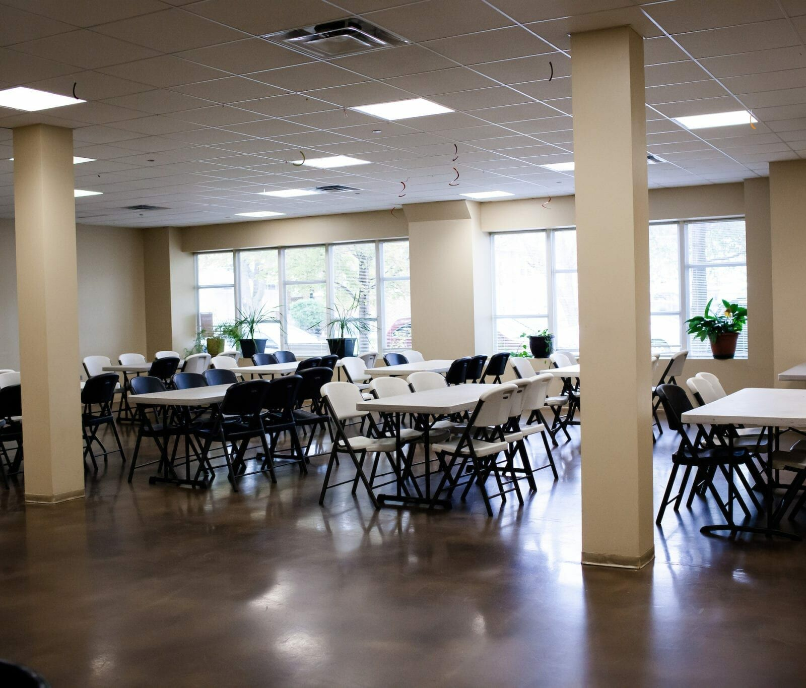 dining room tables and chairs at the Breakthrough Men's Center