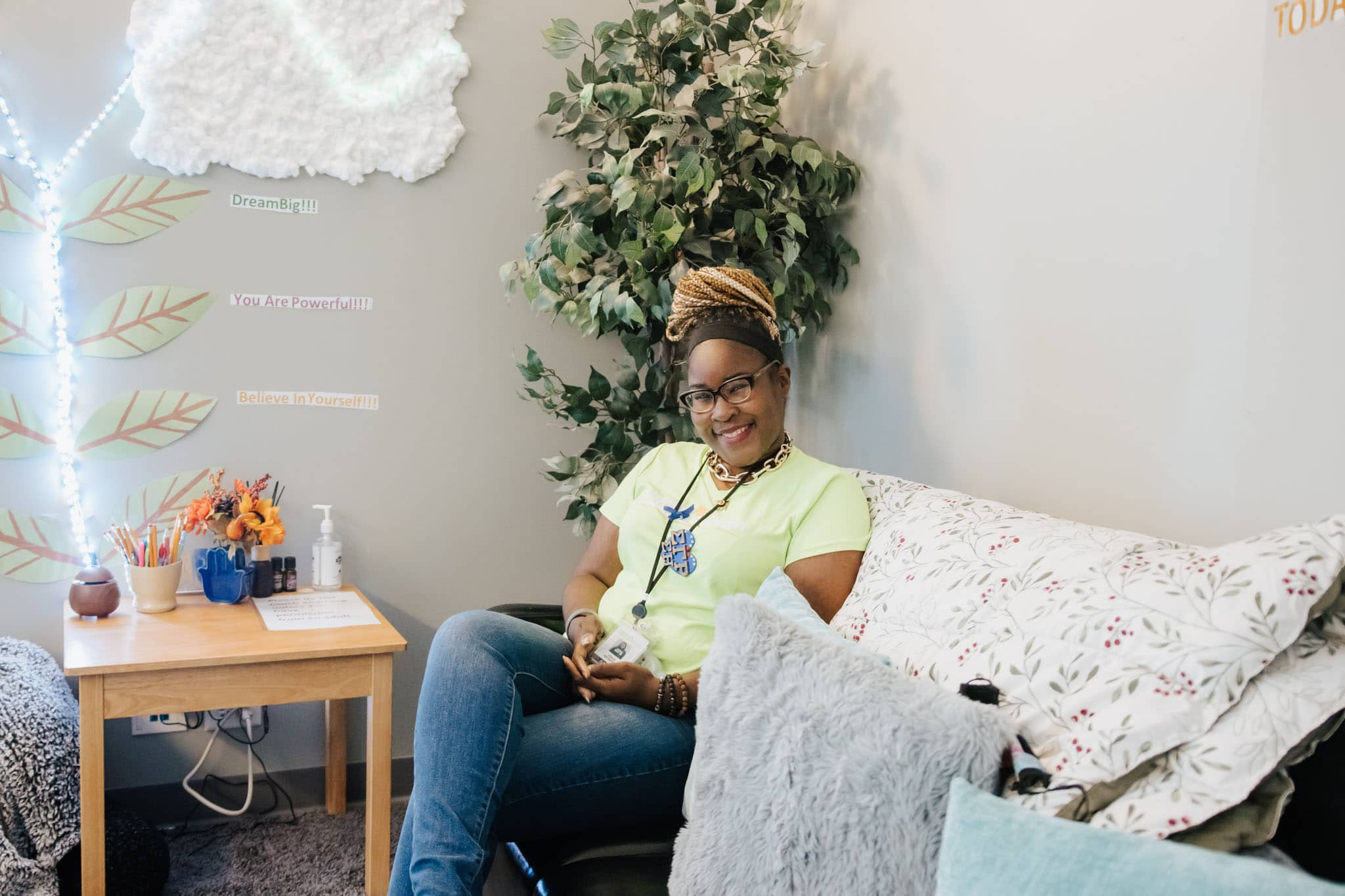 Alece McFadden, Youth Behavioral Coordinator, in therapy room at Breakthrough